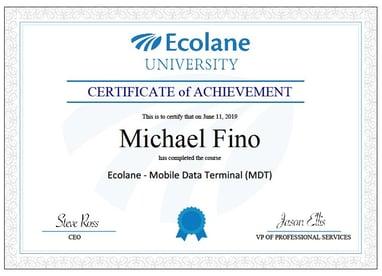 Ecolane Certificate Sample