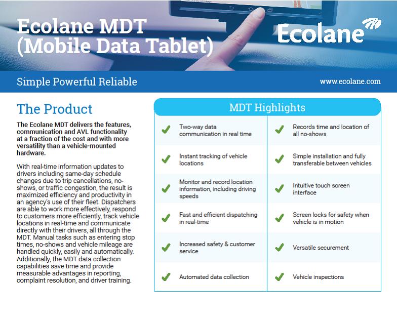 MDT Product Sheet