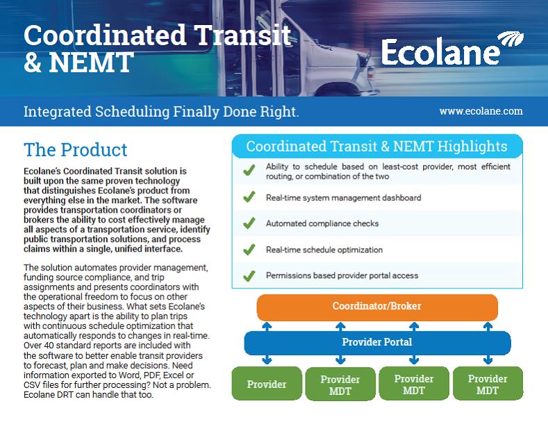 Non Emergency Medical Transportation Product Sheet